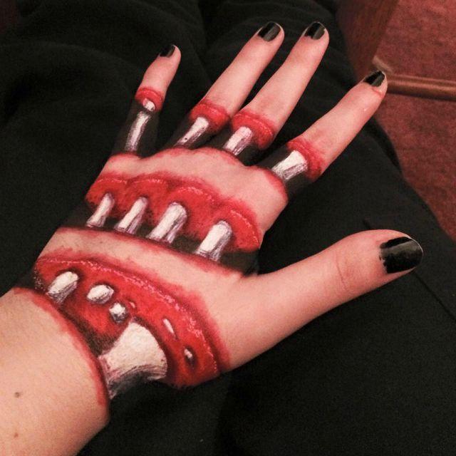 Spooky hand art