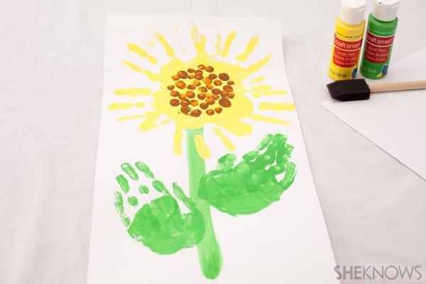 Handprint sunflower seed craft