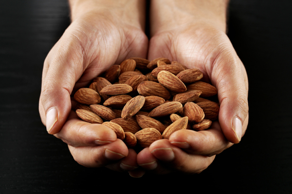Hands holding almonds