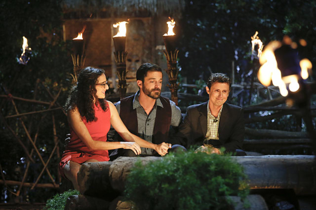 Hannah Shapiro, Ken McNickle and Adam Klein at the final Tribal Council on Survivor: Millennials Vs. Gen-X