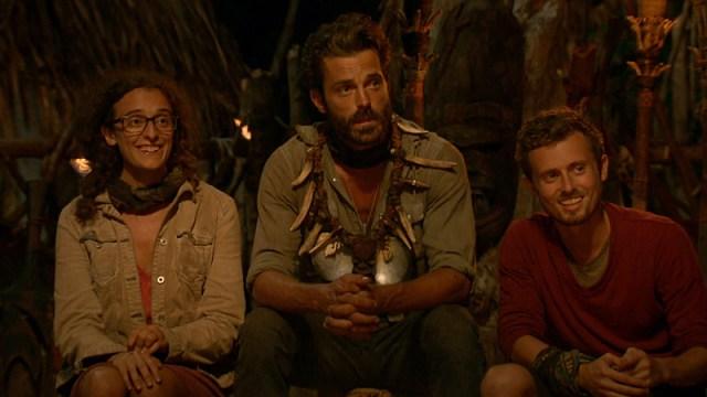 Hannah Shapiro, Ken McNickle and Adam Klein at the final Tribal Council on Survivor: Millennials Vs. Gen-X
