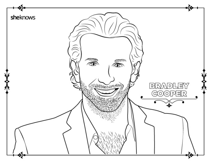 Bradley Cooper coloring book page