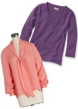 Tie-neck blouse and sweater