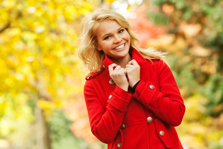 Happy woman in fall