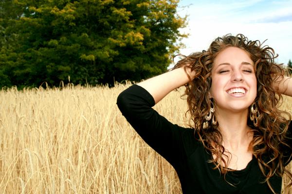 Happy woman outside