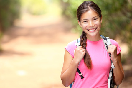 Happy woman on hike