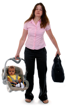 Mom with baby and bag