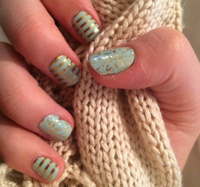Mint green nail design