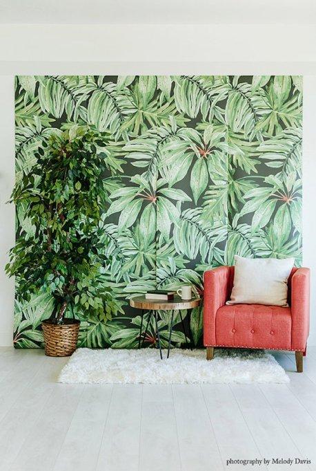 Unique Nursery Decor: Banana Leaf Mural Wallpaper