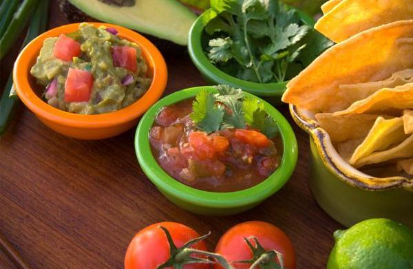 Pico, salsa, hot sauce, mole, enchilada