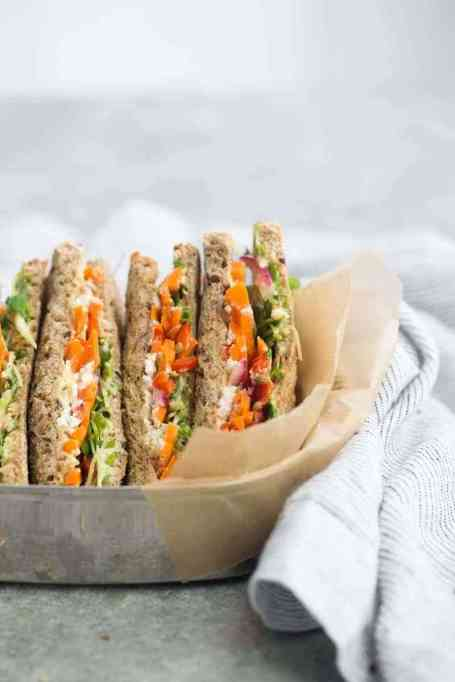 Sandwiches and Wraps for a Healthy Lunch | Pickled Carrot and Hummus Sandwich
