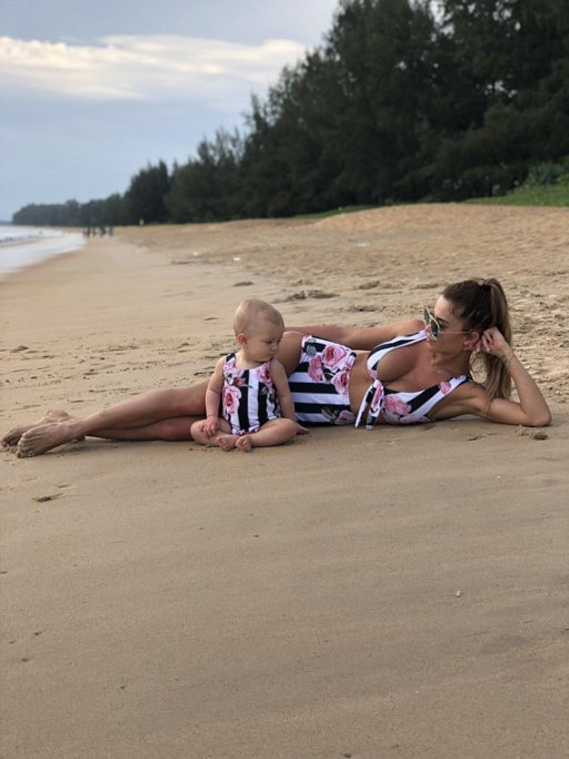 Striped Floral Mommy and Me One Piece