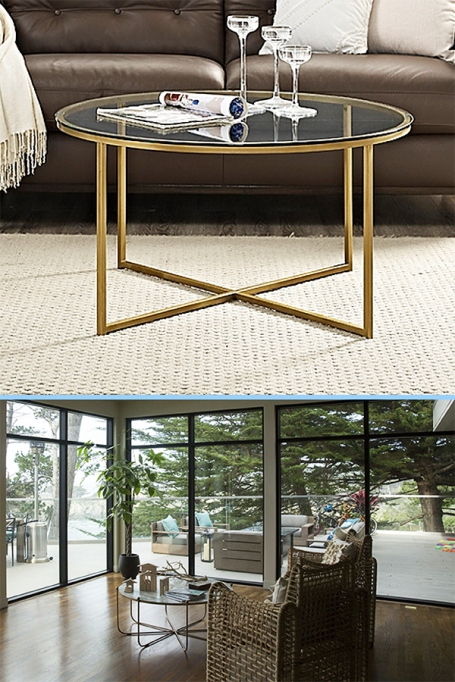 Walker Edison X Base Round Coffee Table in Glass and Gold