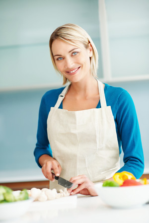 Woman following healthy diet at home