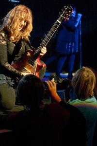 Heart guitarist Nancy Wilson poses for her son