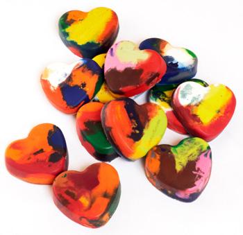 Heart shaped crayon melts