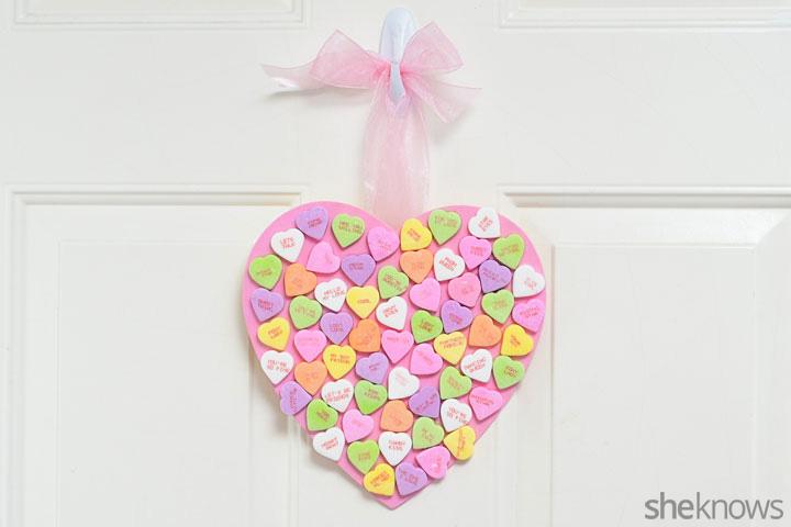 Candy heart Valentine's Day wreath