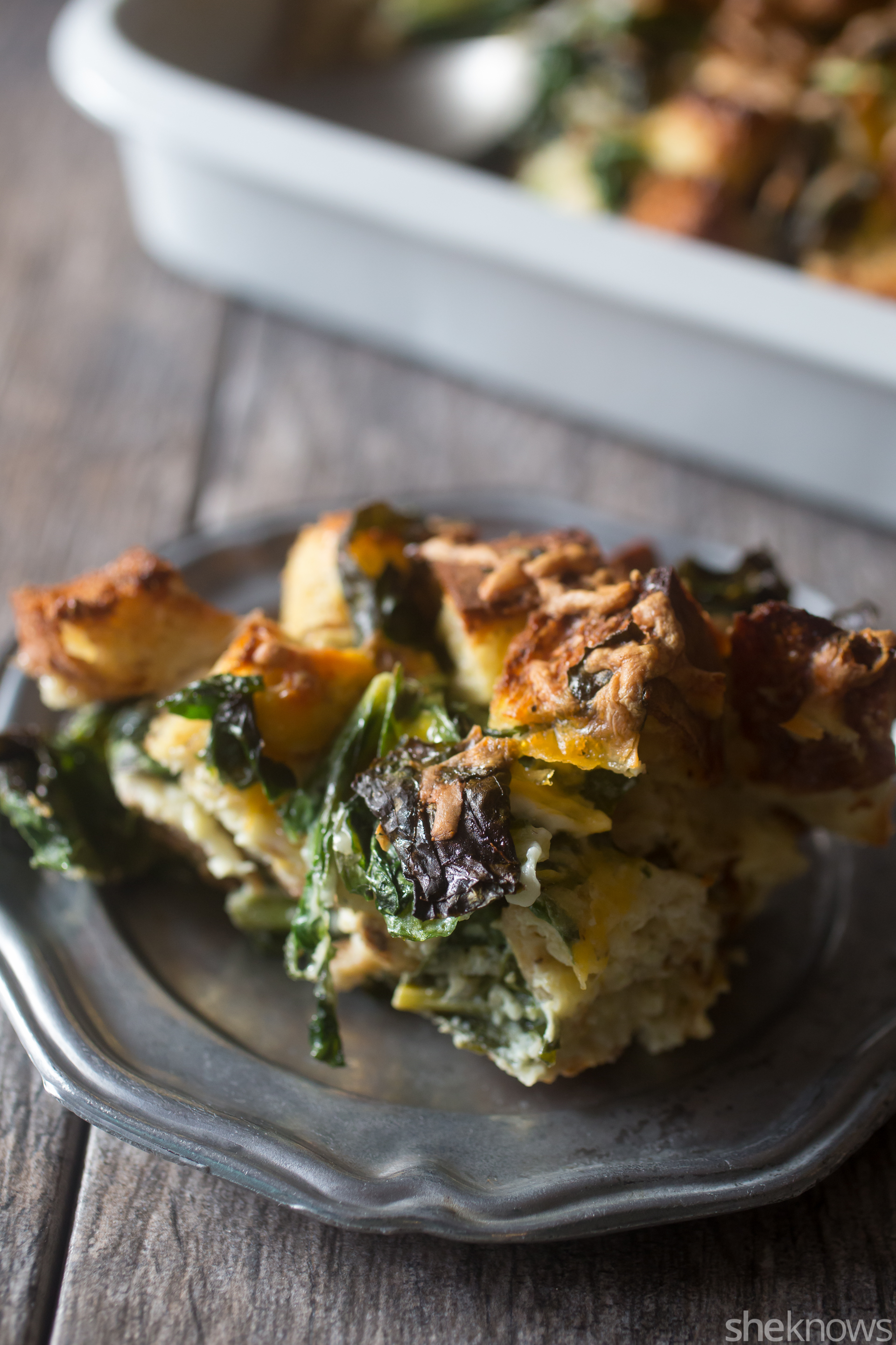 hearty greens and cheddar strata
