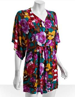 T-Bags floral jersey kimono sleeve mini dress
