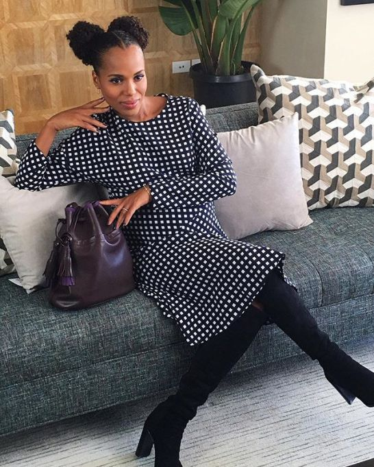 Best Pregnant Celebrity Beauty Looks Ever: Kerry Washington Double Puffs And Winged Liner | Celeb Style 2017