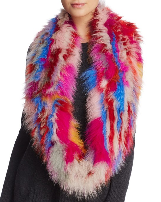 Ways to Wear an Infinity Scarf | Jocelyn knitted fox fur sections infinity scarf