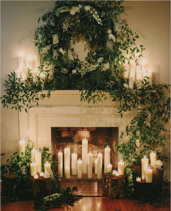 candle decor for holiday fireplace