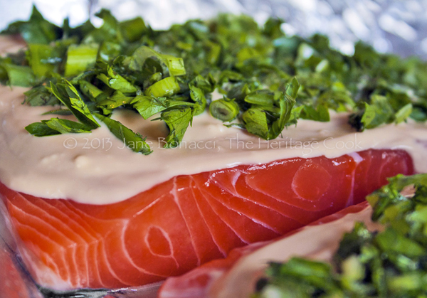 Grilled salmon with green onions and basil