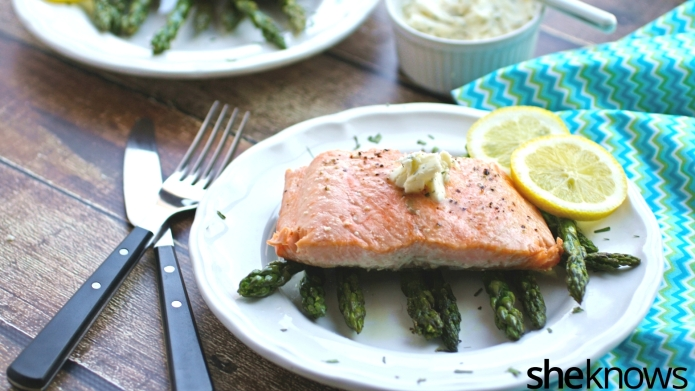 Oven-roasted salmon with lemon-tarragon butter is
