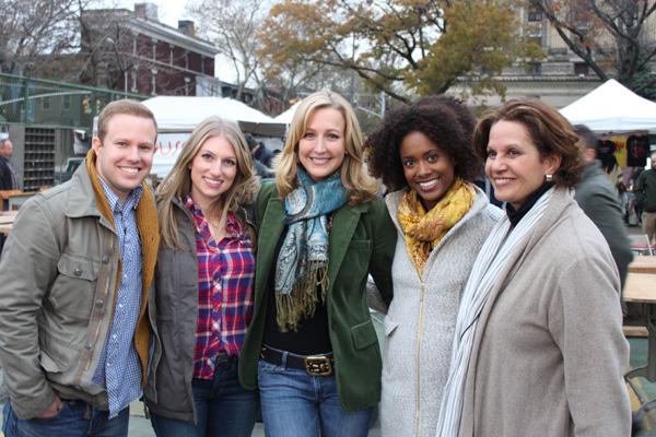 Lara Spencer with cast of HGTV's Flea Market Flips