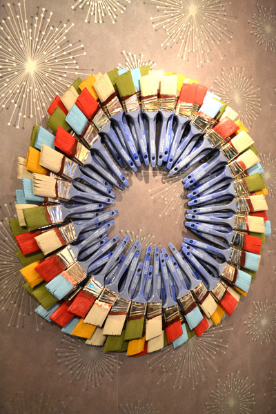 Wreath made of paintbrushes