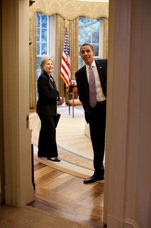 Hillary Clinton and Barack Obama at the White House