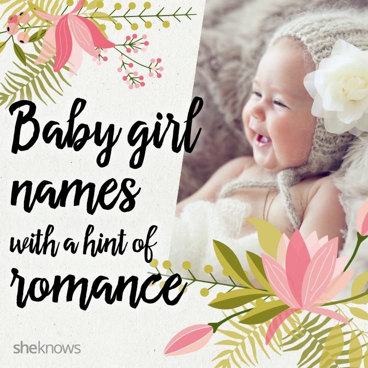 Romantic baby girl names Pinterest image