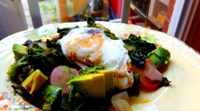 Healthy kale eggs
