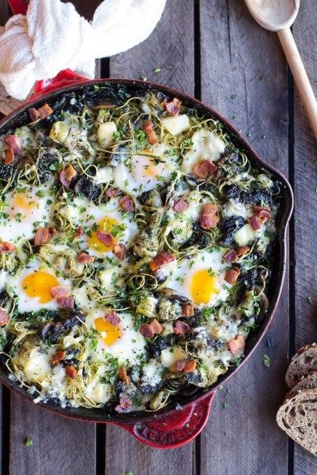 Fontina spinach and artichoke breakfast pasta
