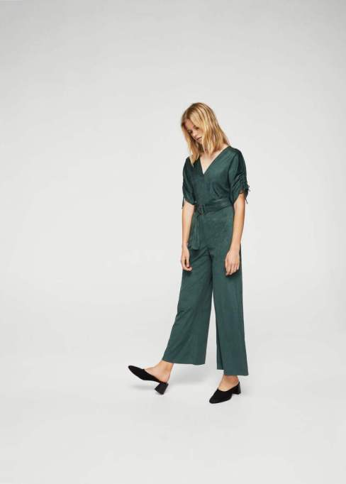 Jumpsuits You Need in Your Closet | Mango Ruched Sleeve Jumpsuit