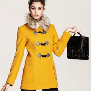 h&m yellow toggle coat
