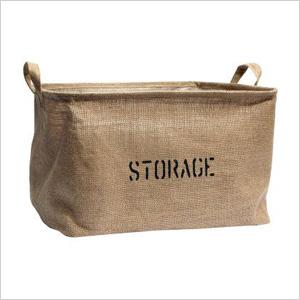 Burlap storage bin