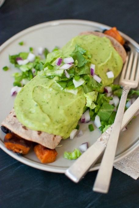 Avocado recipes that don't involve toast: sweet potato and black bean burritos with avocado salsa verde