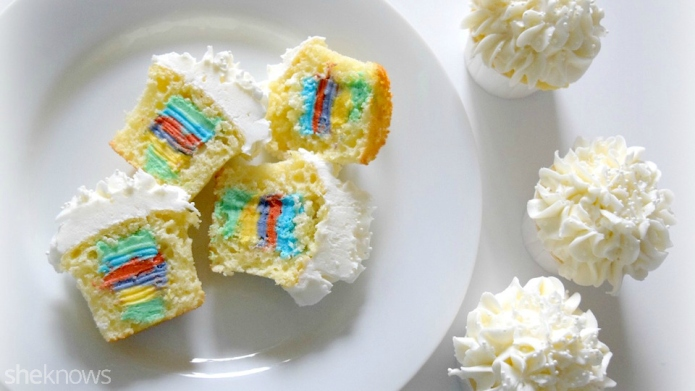 Rainbow surprise cupcakes are sure to