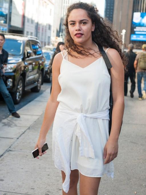 Fashion week street style white blouse