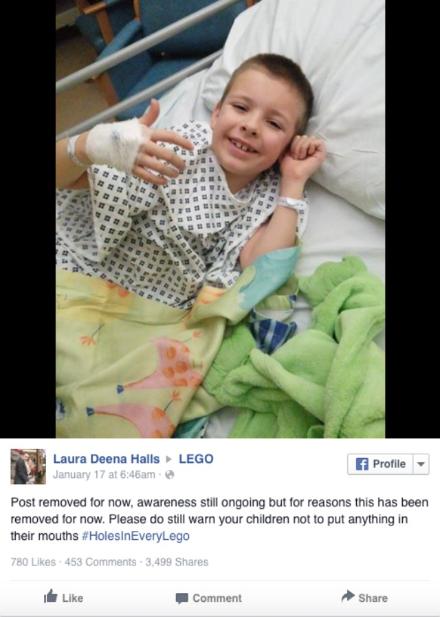 Mum wants holes in every Lego after son's accident