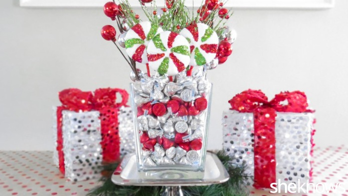DIY festive holiday centerpiece filled with