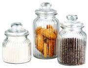 Home basics 3-piece glass jar set