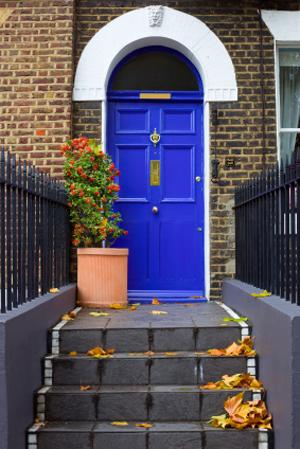 Home with accent door