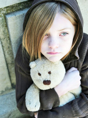 homeless girl teddy bear