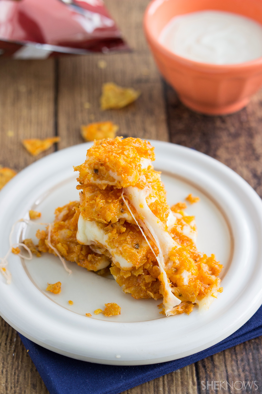 Homemade Doritos Loaded mozzarella cheese bites