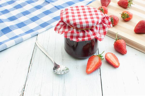 Strawberry jam in a jar