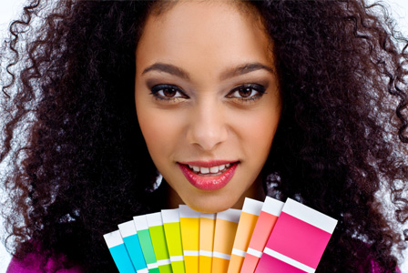 Woman with color samples