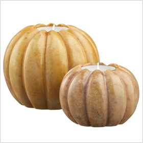 Marble pumpkin candle holders