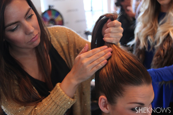 Gather hair into a high ponytail